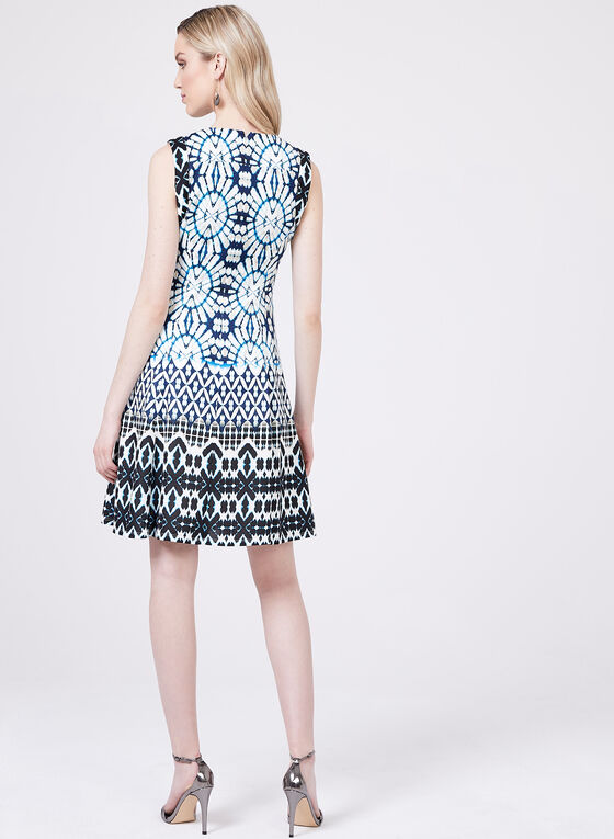 Maggy London – Abstract Print Fit & Flare Dress, Blue, hi-res