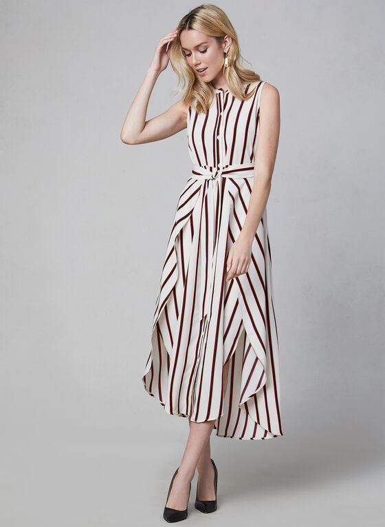 Vince Camuto - Stripe Print Sleeveless Dress, White, hi-res