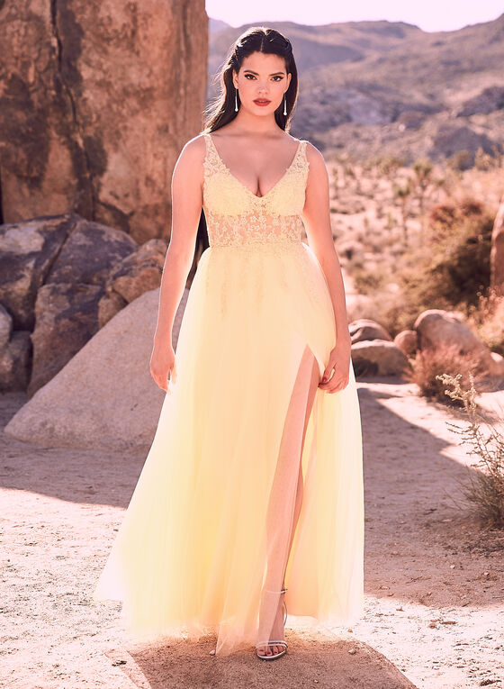 Blondie Nites - Crystal Embellished Mesh Gown, Yellow