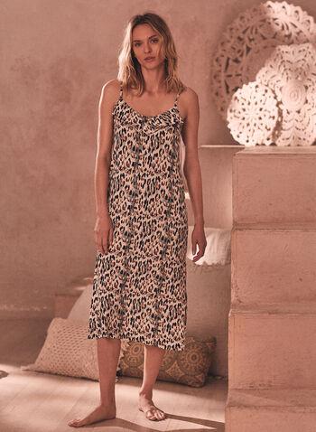 Leopard Print Ruffle Nightgown, Black,  spring summer 2021, pj, pyjama, sleepwear, nightgown, nightshirt, ruffle, detail, v neck, spaghetti strap, leopard print, animal print, soft, comfort, stretch