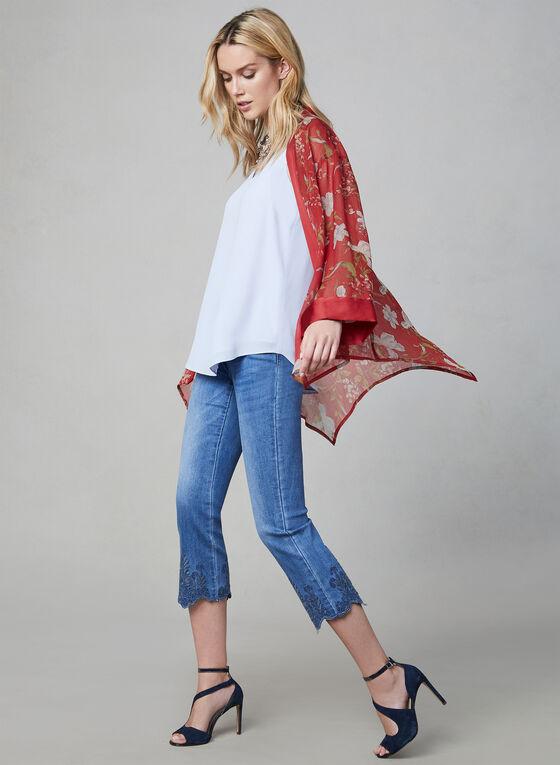 Vince Camuto - Kimono en mousseline fleurie, Rouge, hi-res