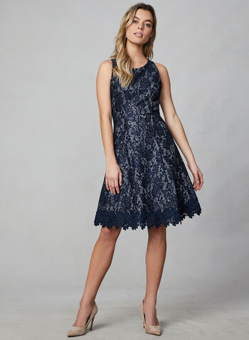 Donna Rico - Lace Sequin Dress, Blue,  dress, lace dress, lace, metallic dress, metallic, sequin, sequin dress, floral, crochet, holiday, long dress, fall 2019, winter 2019