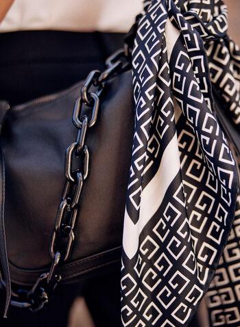 Foulard carré à motif géométrique, Noir,  foulard, accessoire, forme carrée, motif géométrique, effet satin, automne 2021, léger