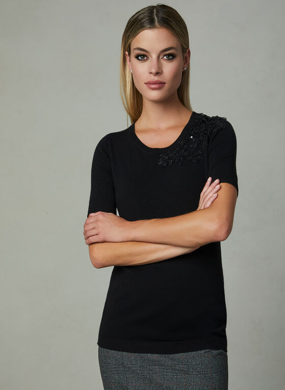 Floral Appliqué Short Sleeve Sweater, Black, hi-res