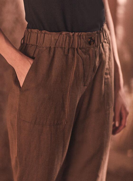 Linen Blend Straight Leg Pants, Green