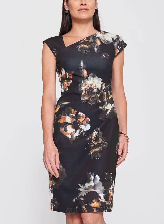 Robe fourreau en néoprène fleuri, Noir, hi-res