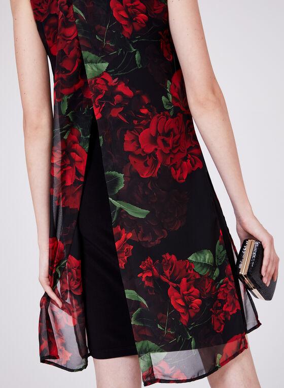 Compli K - Robe en mousseline fleurie fendue au dos, Rouge, hi-res