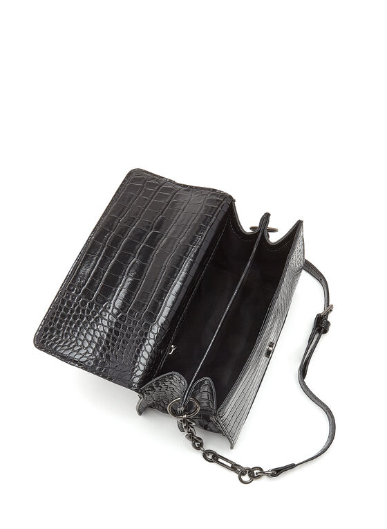 Textured Faux Leather Crossbody Handbag, Black, hi-res