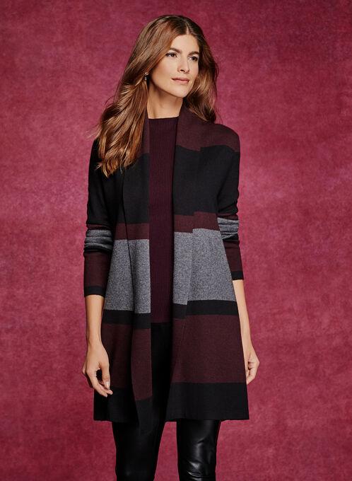Colour Block Stripe Long Cardigan, Purple, hi-res