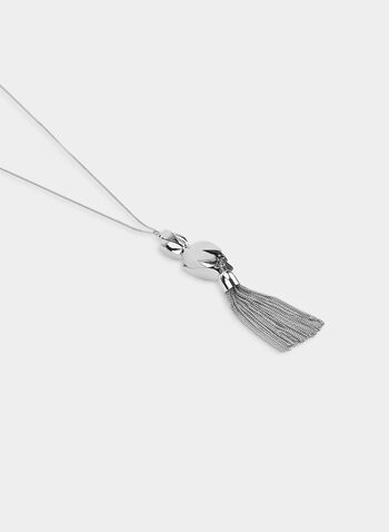 Tassel Pendant Necklace , Silver, hi-res,  necklace, geometric pendant, tassel, fall 2019