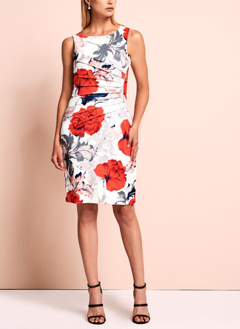 Ivanka Trump Floral Scuba Dress, Red, hi-res
