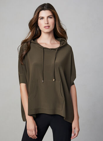 Joseph Ribkoff - Hooded Top, Green,  Joseph Ribkoff, Canada, jersey, short sleeves, cape, kangaroo pocket, hood, fall 2019, winter 2019