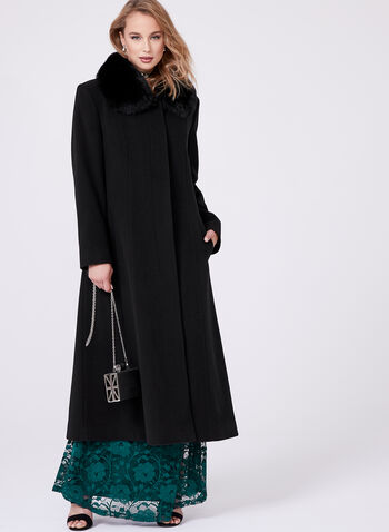 Mallia - Fur Trimmed Cashmere Blend Long Coat, Black, hi-res