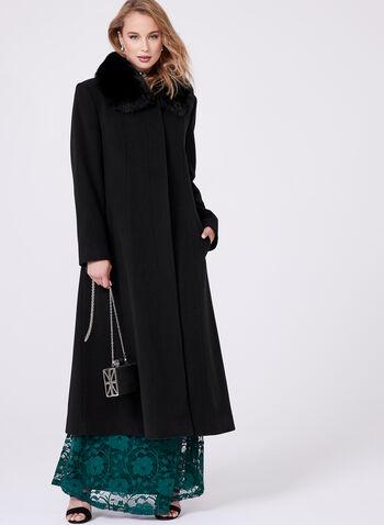 Mallia - Manteau laine et cachemire avec fourrure, Noir, hi-res