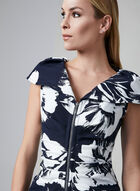Joseph Ribkoff - Floral Print Zipper Dress, Blue, hi-res