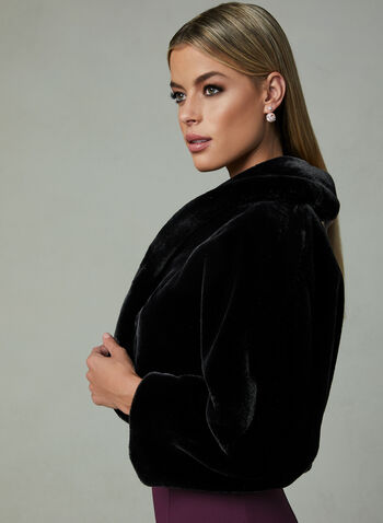Faux Fur Bolero, Black, hi-res