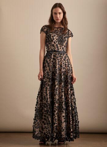 BA Nites - Robe en maille filet brodée, Noir,  robe de soirée, col dégagé, manches courtes, appliqués floraux, broderies, doublure nude, printemps été 2020