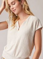 Zipper Detail Short Sleeve Top, Off White