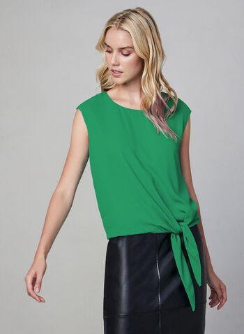 Tie Front Top, Green, hi-res,  fall winter 2019, crepe, sleeveless, blouse