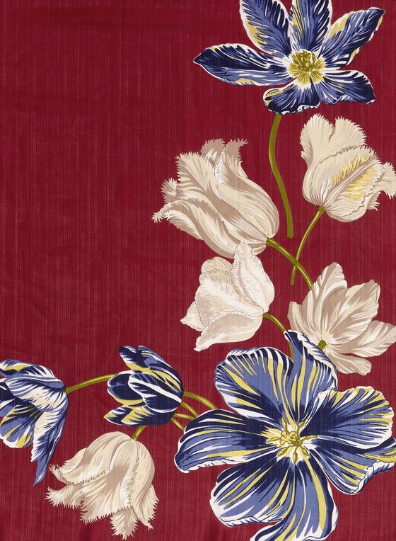 Foulard oblong à fleurs, Rouge, hi-res