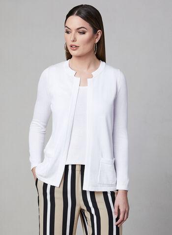 Alison Sheri - Open Front Knit Cardigan, White, hi-res,  spring 2019, long sleeves
