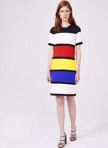 Cartise – Stripe Print Dress, Black, hi-res