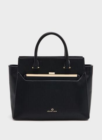 Céline Dion - Faux-Leather Satchel, Black, hi-res