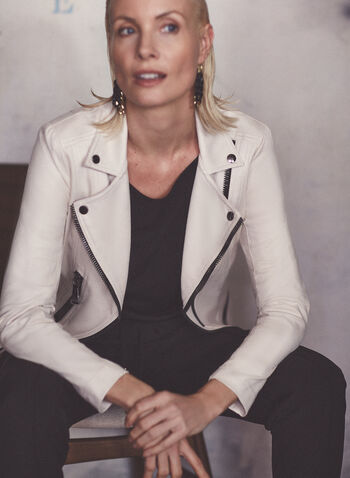 Vex - Contrast Zipper Faux Leather Jacket, Off White,  jacket, faux leather, zipper, contrast trim, long sleeves, shoulder pads, spring summer 2021