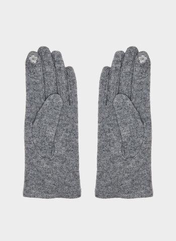 Fur Pompom Wool Gloves, Grey,  fur gloves