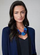 Cardigan long ouvert à blocs de couleurs, Bleu, hi-res