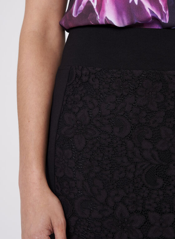 Lace Detail Pencil Skirt, Black, hi-res