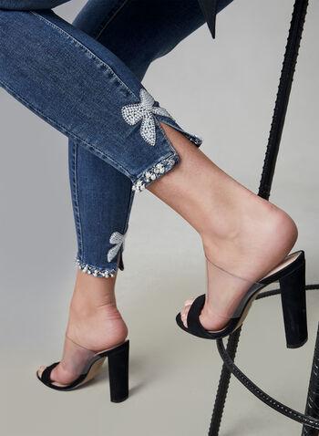 Frank Lyman - Jeans à détails perles, Bleu,  jeans, longueur cheville, perles, nœud, poches, automne hiver 2019