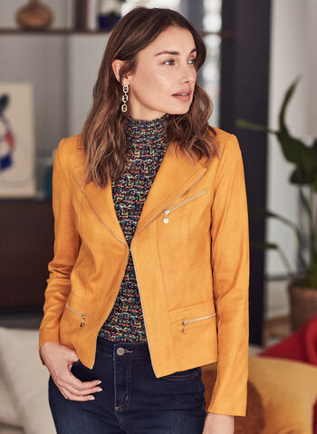 Vex - Faux Leather Jacket, Yellow,  spring summer 2021, faux-leather fabric, zipper detail, notch collar