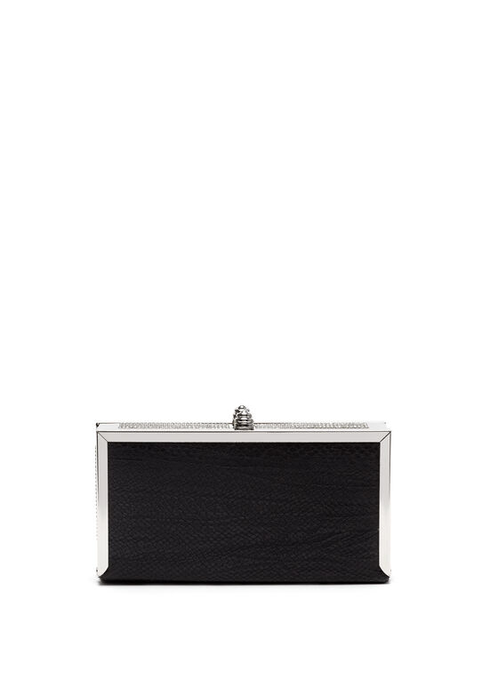 Faux Snakeskin Box Clutch, Black, hi-res