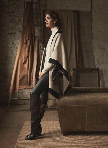 Contrast Trim Shawl, Brown,  fall winter 2021, three tone, 3 tone, scarf, scarves, ruana, shawl, wrap, contrast, plaid, poncho, open front, shawl, stole, wrap