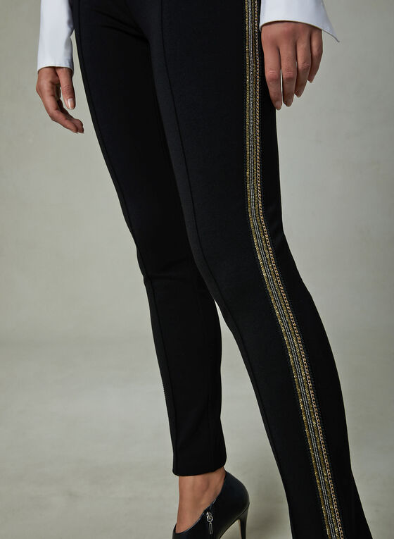Metallic Trim Slim Leg Pants, Black, hi-res