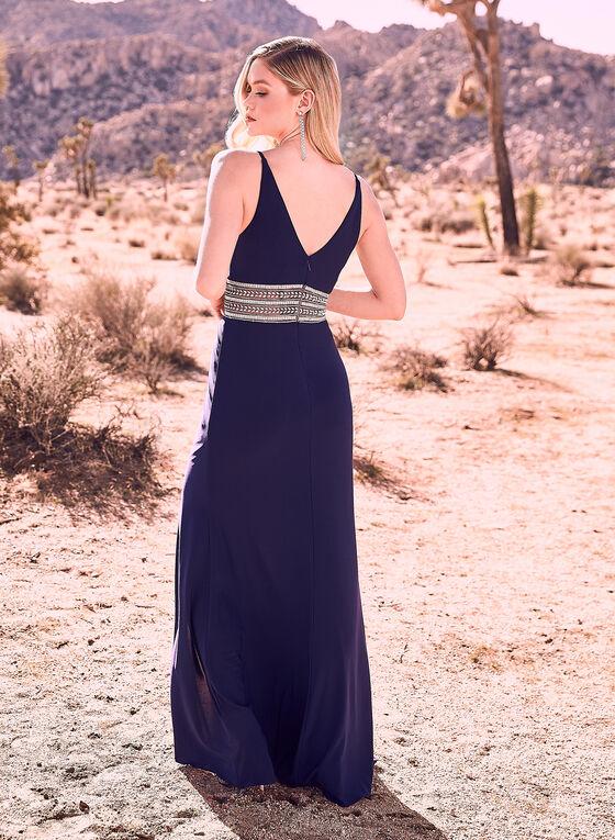 BA Nites - Robe à taille sertie de cristaux, Bleu