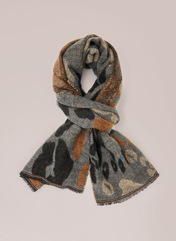 Abstract Animal Print Scarf, Grey,  scarf, animal print, abstract, acrylic, fringe, fall winter 2020