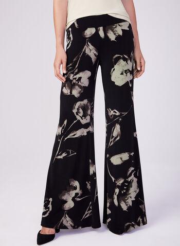 Joseph Ribkoff - Pantalon palazzo à motif floral, Noir, hi-res