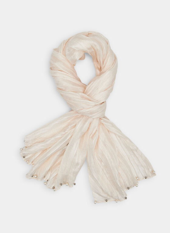 Pearl Embellished Scarf, Off White, hi-res