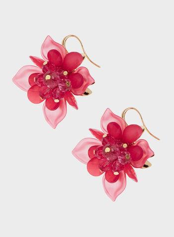Boucles d'oreilles en forme de fleur, Rose, hi-res