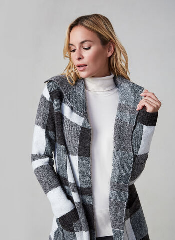 Alison Sheri – Colour Block Knit Cardigan, Grey, hi-res,  knit coat,