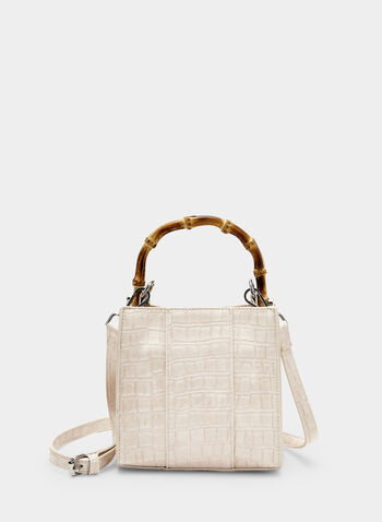 Sac en faux crocodile et anses en bambou, Blanc, hi-res,  sac, rectangle, faux crocodile, bambou, printemps été 2019