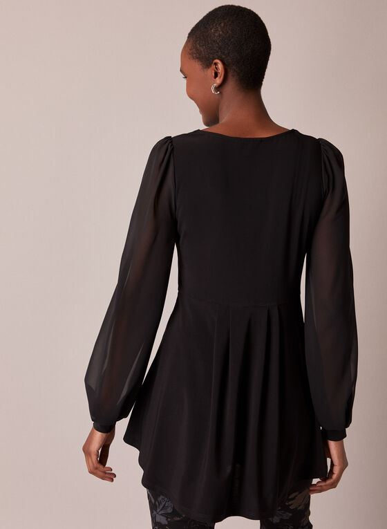 Chiffon Sleeve Tunic Blouse, Black