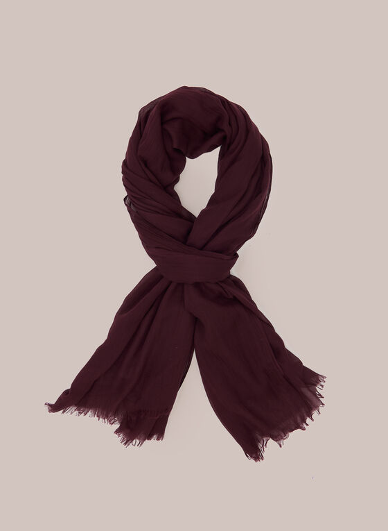 Wrinkle Effect Lightweight Scarf, Red