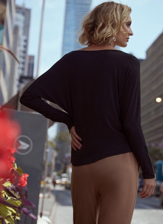 Zipper Detail Dolman Sleeve Top, Black
