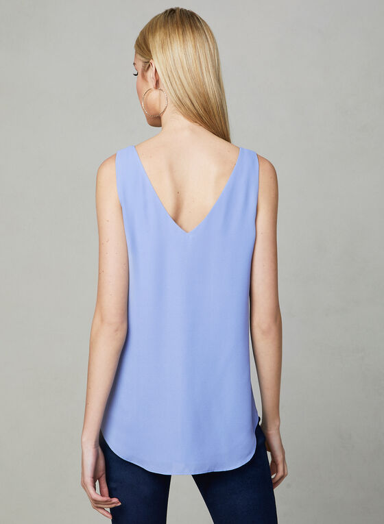 Sleeveless V-Neck Blouse, Blue, hi-res