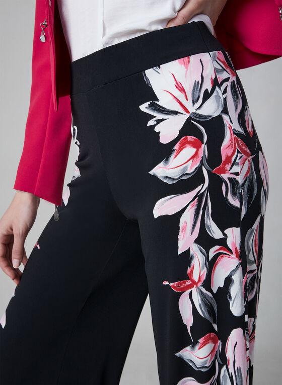 Pantalon jambe large avec imprimé floral, Noir, hi-res
