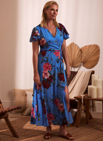 Joseph Ribkoff - Floral Print Maxi Dress, Blue,  spring summer 2021, flowers, flowery, dresses, made in Canada, v neck, ruffles, belt, sash, drawstring,