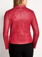 Vex - Blazer aspect cuir et col cranté, Rouge, hi-res